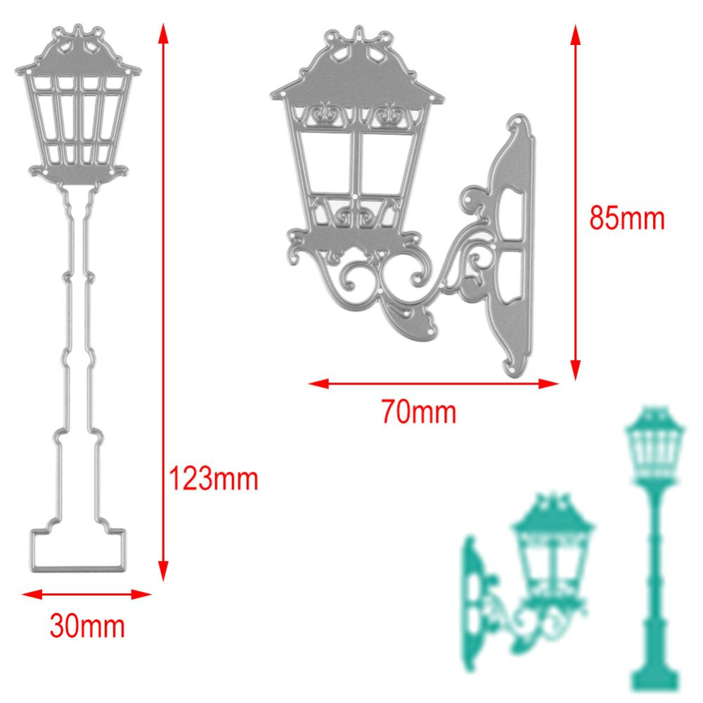 2Pcs/set Street Light Lamp Cutting Dies Stencil Template