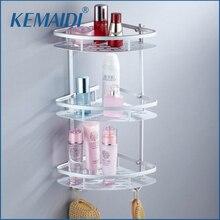 Kemaidi пространство алюминия полка ванной три Слои настенный шампунь мыло косметическое для ванной полки ванной Аксессуары