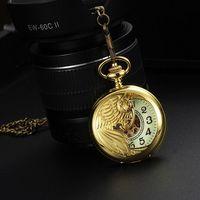 หรูหราโบราณส่องสว่างฟีนิกซ์นกสร้อยคอกลวงอัตโนมัติวิศวกรรมนาฬิกาพ็อกเก็วินเทจโกลเด้นนา...