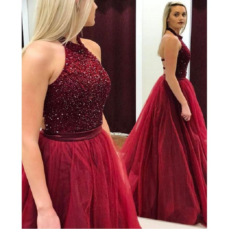 e0b87e2544 ... Burgundy Beaded Crystal Prom Dresses Long 2019 vestidos de fiesta de  noche A Line Formal Women ...