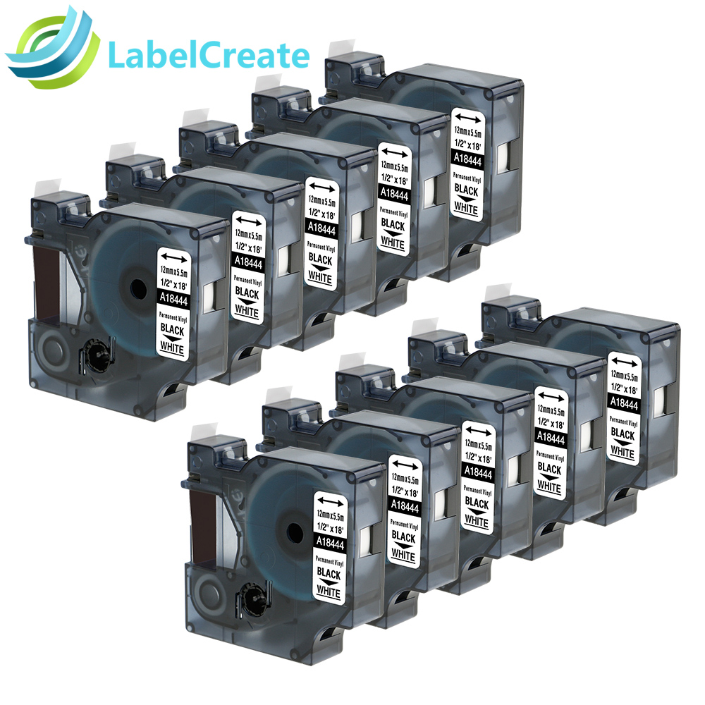 10 Packs Compatible DYMO RhinoPro Industrial 18444 Black on White 12mm Permanent Vinyl Labels for Label