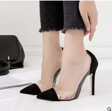 2017 new shoes fall Europe and the United States pointed shallow mouth high-heeled shoes transparent film sexy shoes europe and the united states 2015 new spring shoes and high heeled shoes asakuchi pointy suede 35 41 code