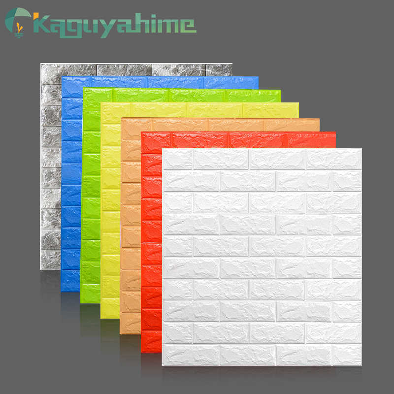 Kaguyahime 3D Wallpaper DIY Marble Sticker Waterproof Stickers Wall Papers Home decor Kids Room 3D Self-Adhesive Wallpaper Brick