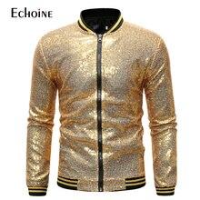 Chaqueta dorada con lentejuelas para hombre, abrigo informal, traje de noche ajustado, prendas de vestir brillantes para rendimiento, chaquetas de baile con cremallera