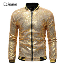 Men Golden jacket Sequin Jacket Coat Casual Slim Fit NighClub Suit Performance Shinning Outwear Male Dance Zipper Jackets