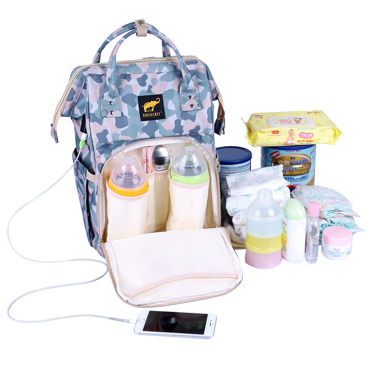 Camouflage Upgraded Mommy Baby Diaper Bag with USB Charged Shoulder Backpack Recreational Maternity Child Bag To The HospitalCamouflage Upgraded Mommy Baby Diaper Bag with USB Charged Shoulder Backpack Recreational Maternity Child Bag To The Hospital