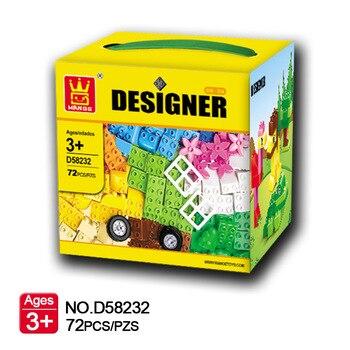 72Pcs Big Size Bricks Set City DIY Creative Bricks Toys Child Educational Wange Building Block Wange 58232 Compatibricks
