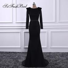 Robe De Festa O Cou Avec Perles Manches Longues Sirène Longue Formelle Parti Élégant Noir Robes De Soirée pour les Femmes