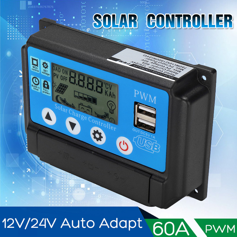 60A 12V 24V Auto Solar Charge Controller Auto Work PWM With LCD Dual USB 5V Output Solar Cell Panel Regulator PV Home60A 12V 24V Auto Solar Charge Controller Auto Work PWM With LCD Dual USB 5V Output Solar Cell Panel Regulator PV Home