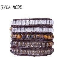 Fyla Mode 6mm Natural Tea Crystal & Tiger Eye Beaded Five Strand Handmade Brown Leather Wrap Bracelet Genuine Leather Bracelet