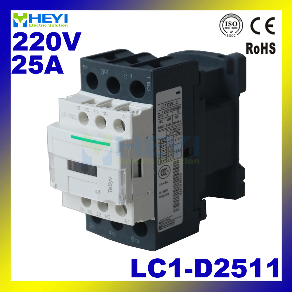 LC1-D2511 Contacts Cheap <font><b>Contactor</b></font> Match for Electrical Pole <font><b>220V</b></font> <font><b>25A</b></font> 50Hz for AC Motor 690V insulate class image