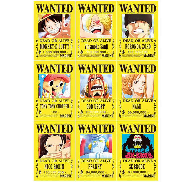 9pcs One Piece Action Figure Bounty Poster Craft Print Wall Sticker Vintage Movie Playbill Luffy Stickers One Piece Wallpaper
