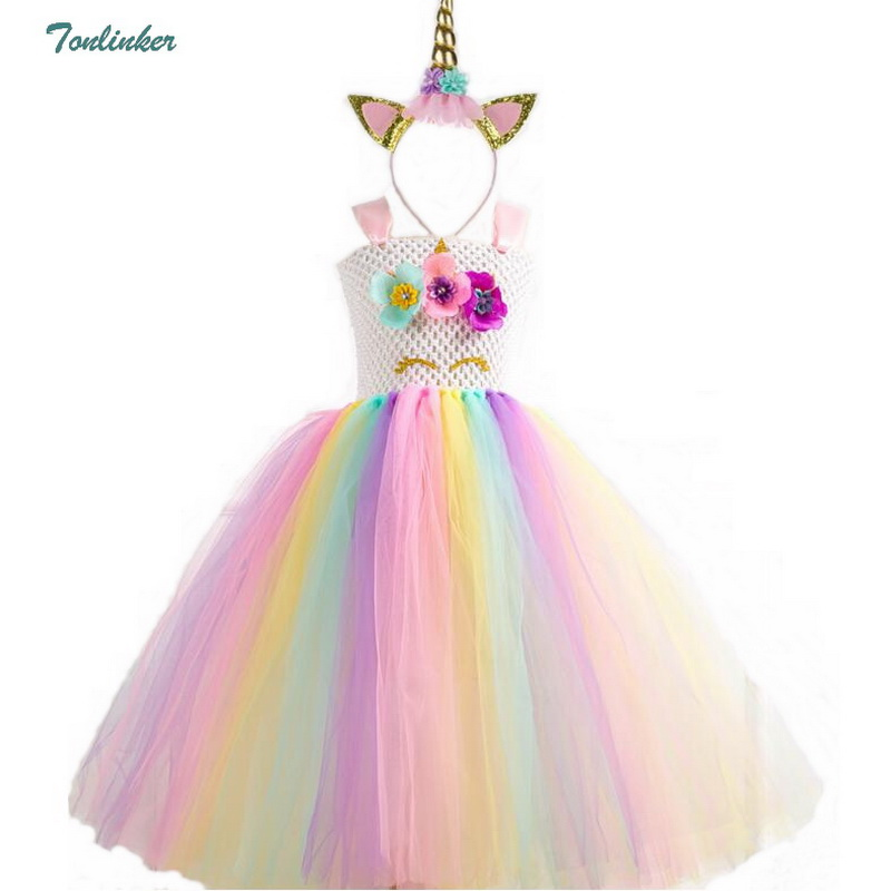 56424cc0f1ef Unicorn Costume Flower Girls Unicorn Tutu Dress Rainbow Princess Girls  Birthday Party Dress Children Kids Cosplay 2-10Y
