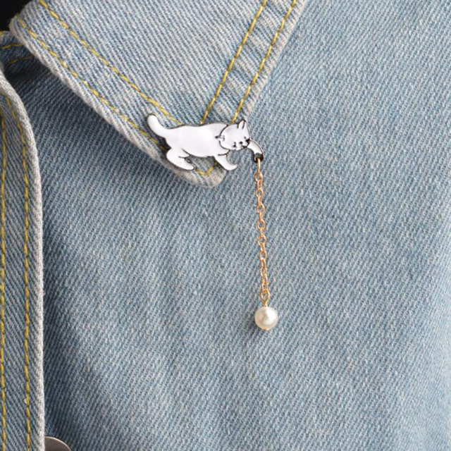 Rinhoo Alloy Cute Little White Imitation Pearl Cat Brooch Pins Chic Fashion Jewelry Bijoux Brooch Wholesale Women Accessories
