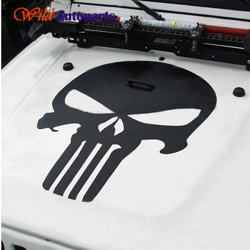 Yang universal matte hitam putih kepala tengkorak punisher hood stiker vinyl decal untuk jeep wrangler kompas besar cherokee patriot di dari aliexpress com
