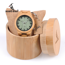 2017 BOBO de AVES Hombres Reloj Luminoso Manos Dial Cuarzo Relojes De Madera De Bambú Verde Venda de Reloj relogio masculino B-B22