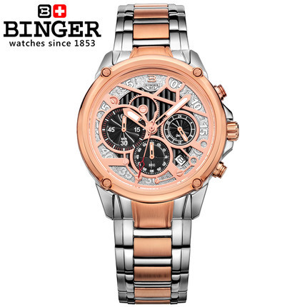 Binger 2017 Hot sale Top Brand Gold Plated Stainless Steel Watches fashion man Janpan Quartz Movement Mens Wrist Watch Dropship hollow brand luxury binger wristwatch gold stainless steel casual personality trend automatic watch men orologi hot sale watches