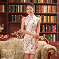 Flower Print Chinese Cheongsam Summer Short Chinese Ancient Dress Satin Vintage Qipao  Lady Dress Sexy Female Clothes 18