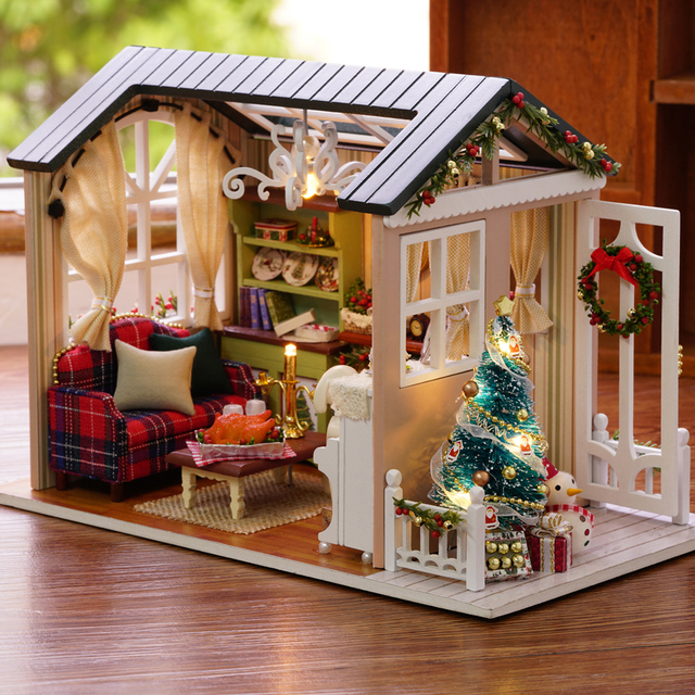 diy christmas miniature dollhouse kit vintage home decoration accessories modern mini 3d led wooden house room