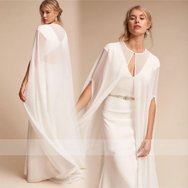 2018 Hot Womens Long Chiffon Cape White Ivory Wedding Jacket Cloak