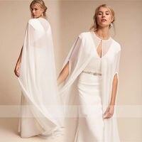2018 Hot Women's Long Chiffon Cape White /Ivory Wedding Jacket Cloak Bridal Dress Wraps EE9902