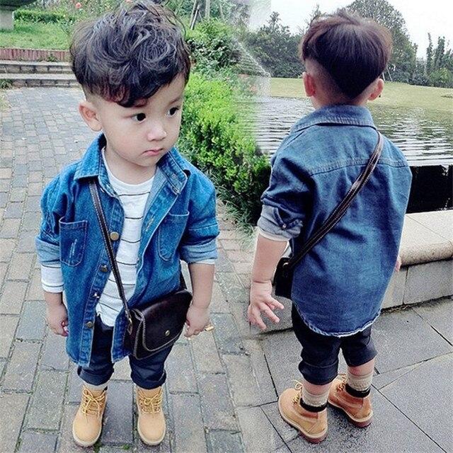 65d2c99018b8 2018 kinder Jungen Denim Jacke Jungen Cowboy Jacken Mantel Frühling Solide  Kinder Mäntel Baby Mädchen Jungen