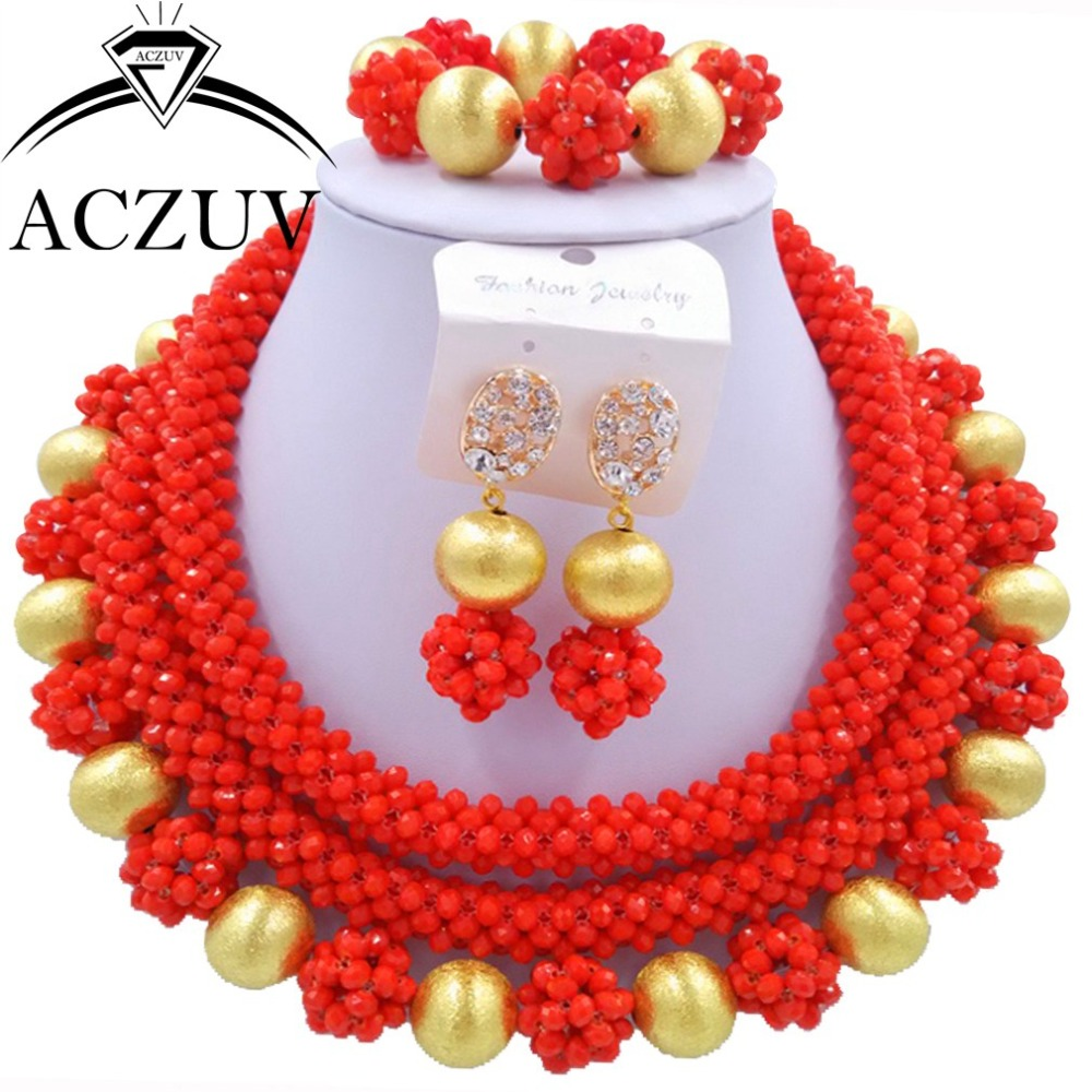 Crystal Bridal Jewelry Set Red Opaque African Nigerian Wedding Beads AN008Crystal Bridal Jewelry Set Red Opaque African Nigerian Wedding Beads AN008