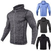 Mens Running Jackets Fitness Sports Coat Soccer Football Training Gym Corset Hooded Breathable Running Jacket Men