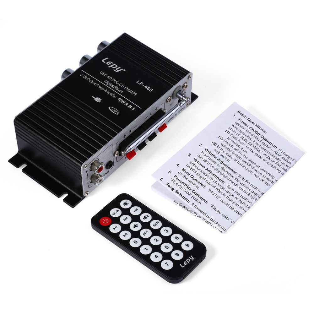 Lepy LP-A68 Multi-functional Household Motorcycle Portable Amplifiers FM SD MMC MP3 USB Card Stereo Audio Car Power Amplifier