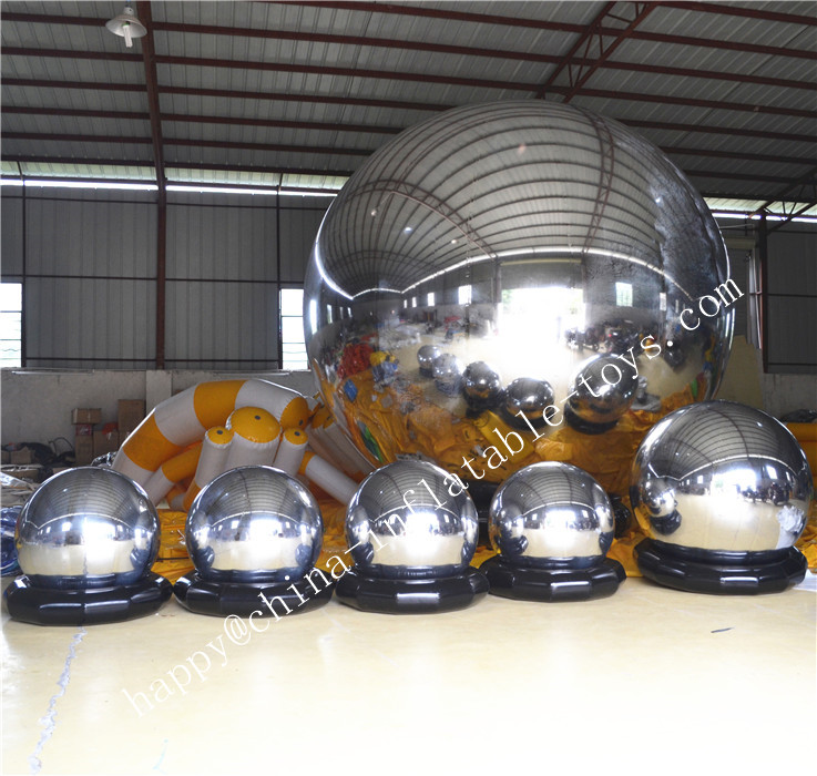 Wholesale Giant Inflatable Disco Mirror Ball For Show Inflation Silver Mirror Balloons Commercial Use