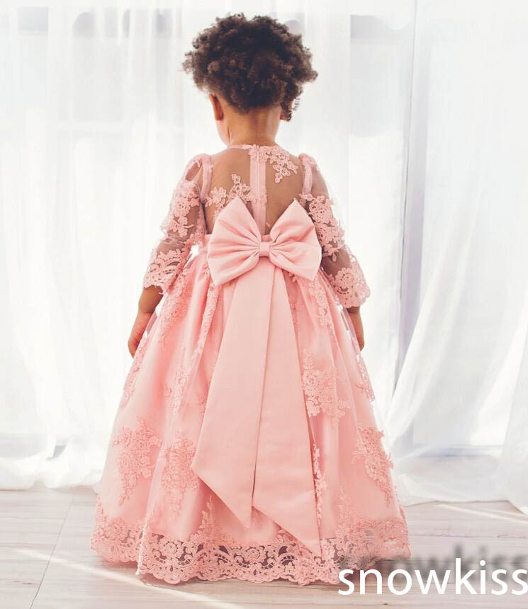 Cute popular pink long sleeve lace infant birthday girl flower petals dress O-neck appliques ad cute bow sash girl prom gowns cute scoop neck floral print long sleeve lace blouse for women