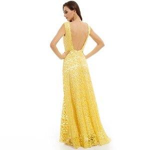 Image 2 - Dressv daffodil long evening dress cheap scoop neck appliques backless a line wedding party formal dress evening dresses