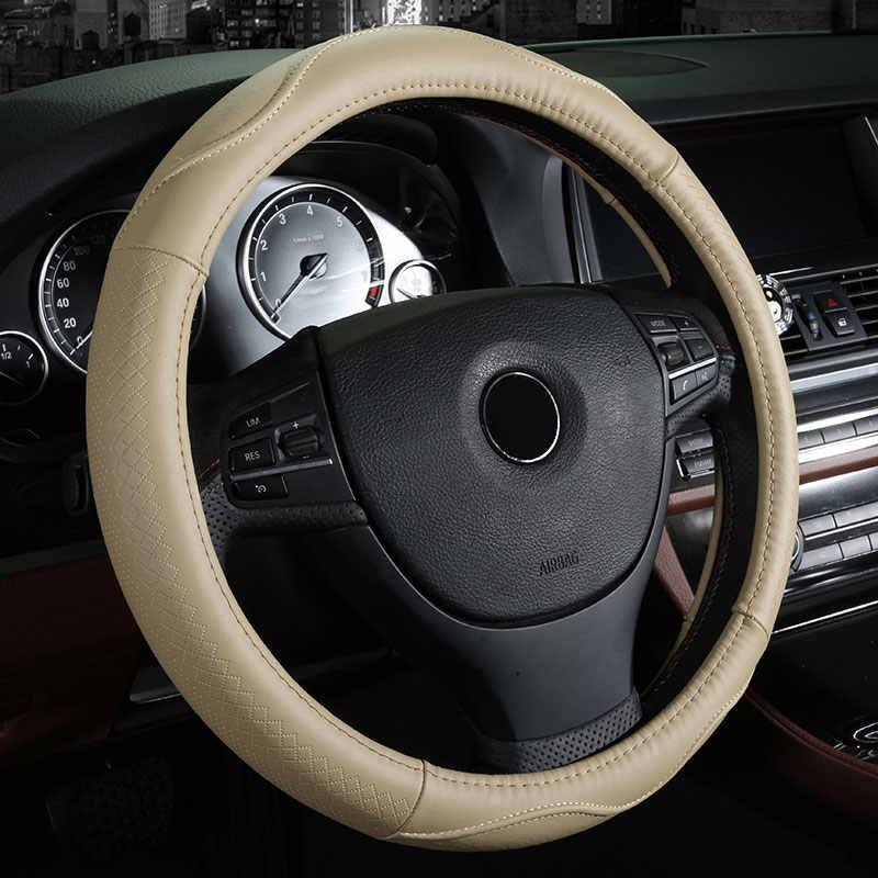 本革車のステアリングホイールカバーオートアクセサリー用フィアット500 500x albeaでbravo ducatoフリーモントlinea mareaパリオパンダ