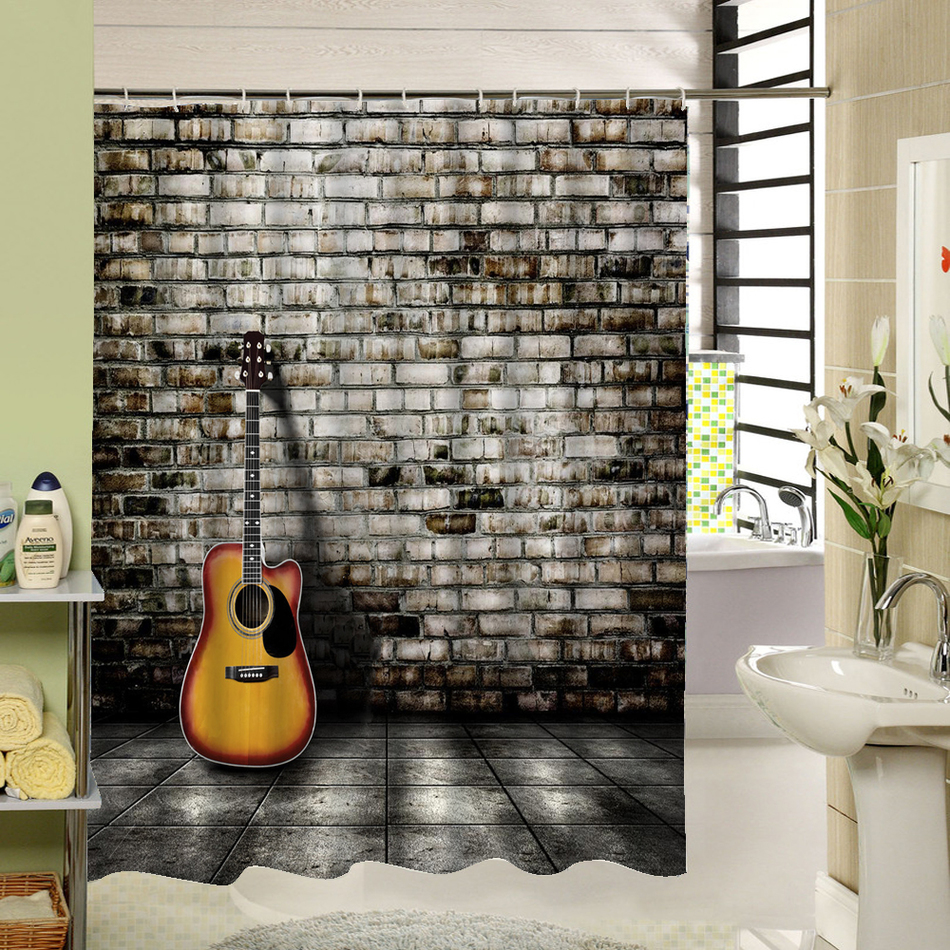 benutzerdefinierte stoff duschvorhang 3d print gitarre moderne design kunst decor f r badezimmer. Black Bedroom Furniture Sets. Home Design Ideas
