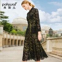 POKWAI кружевное платье для женщин 2019 весенняя одежда новая мода праздник две женщины вкус в длинном элегантном тонком платье