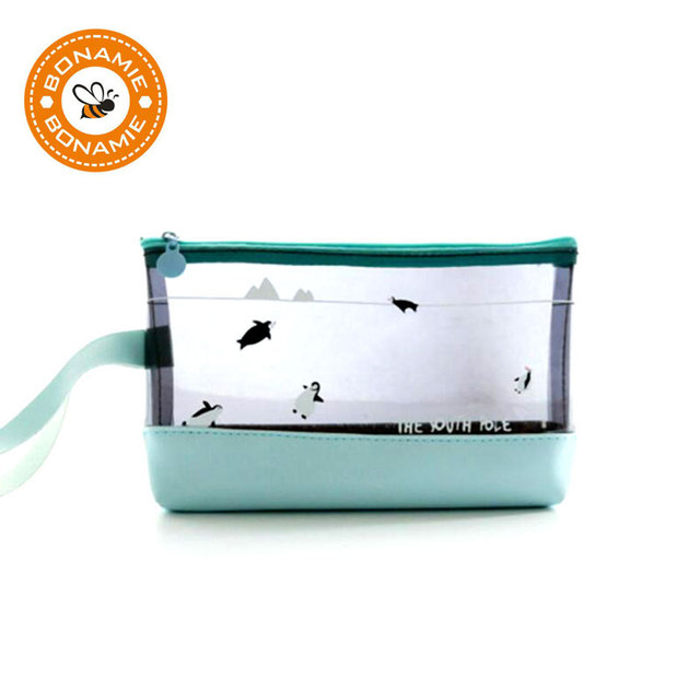 BONAMIE Women PVC Cosmetic Bag Cute Shark Penguin Bear Makeup Bag Lady  Transparent Travel Toiletry Pouch 56095e40eb15