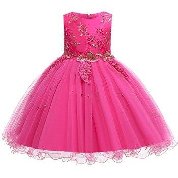 Vestido de niña de las flores para boda elegante bebé niña trajes de cumpleaños niños niñas vestidos de primera comunión niña niños fiesta