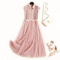 2019 girls summer dress lolita style pink blue lace patchwork strap pleated cute dresses
