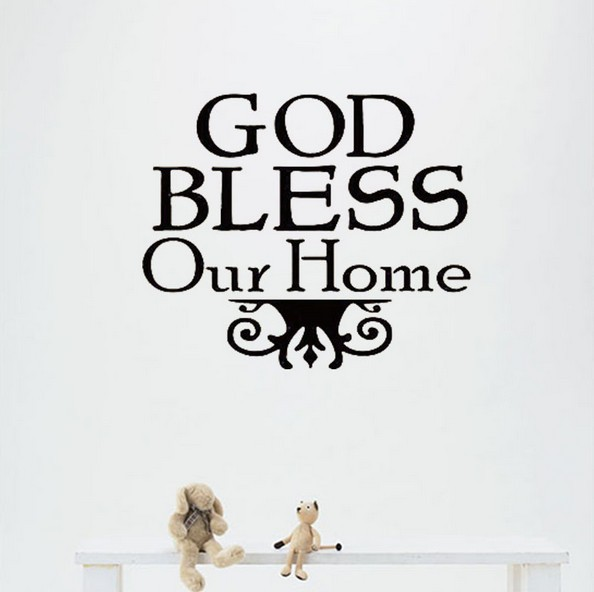 God bless our home 40cmx40cm text wall sticker christian family design vinyl qoutes wall decal