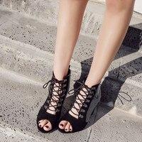 YMECHIC Summer 2019 Block Heels Gladiator Sandals Women Mature Peep Toe Party Shoes Cross Tied Lace Up Flock Dot Ladies Sandal