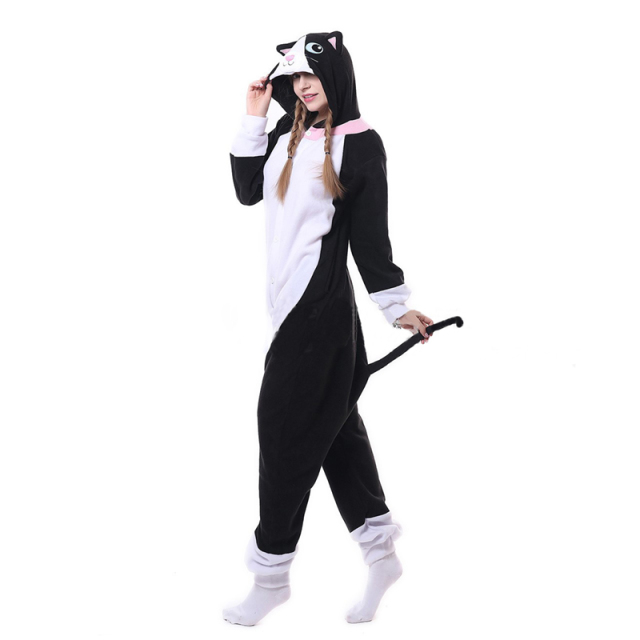 Animal Black Cat Kigurumi Onesie Men Women DJ Kitty Matching Pajama Overall Adult Sleepwear Cartoon Carnival Jumpsuit Fantasias