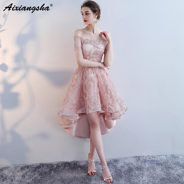 Lace Plus Size Prom Dresses High Low Dress Cheap Prom Dress Elegent Backless vestido de festa Custom Color vestido formatura