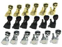 6 Inline 6L Linkshandige Verzegelde Schedel Knop Gitaar Tuners Tuning Keys Pinnen Machine Heads voor Strat Tele Gitaren 3 kleuren