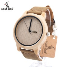 Bobo bird a22 marque conception bambou bois casual montres pour hommes Femmes laides Véritable Bracelet En Cuir Cool Quartz Montre livraison gratuite