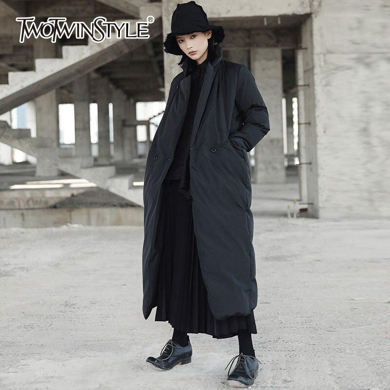 TWOTWINSTYLE Black Cotton Coat Female Long Sleeve Women Overcoat Windbreaker Back Split Casual Clothes Big Sizes 2018 Winter New