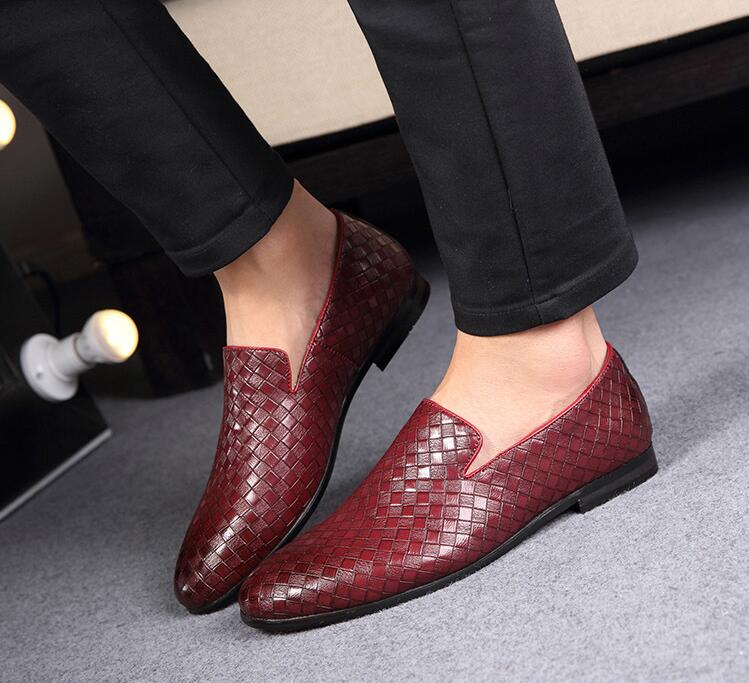 Genuine Leather Men's Dress Shoes Handmade Knitting Moccasin Gommino Male Smart Casual Shoes Slip-On Breathable Flats Loafers handmade women loafers round toe genuine leather flats female soft moccasin gommino breathable boat shoes chaussure xk052506