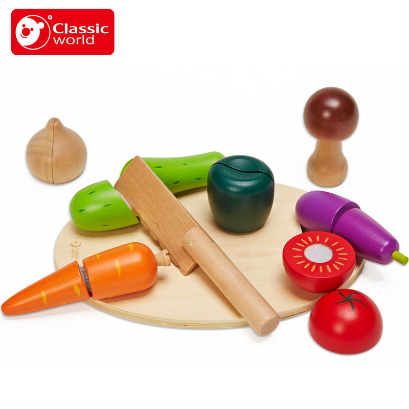 Classic World Children Kitchen Cooking Let Cutting Fruits & Cutting Vegetables Colorful Pretend Educational Food Toys for Kids ...