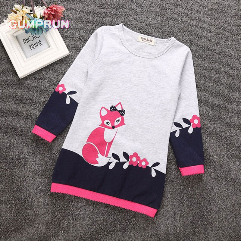Toddler Girl Clothes Autumn Children's A-line Dress Fox Floral Print Girl Dresses Long Sleeve Striping Magenta Princess dress smock long sleeve a line dress