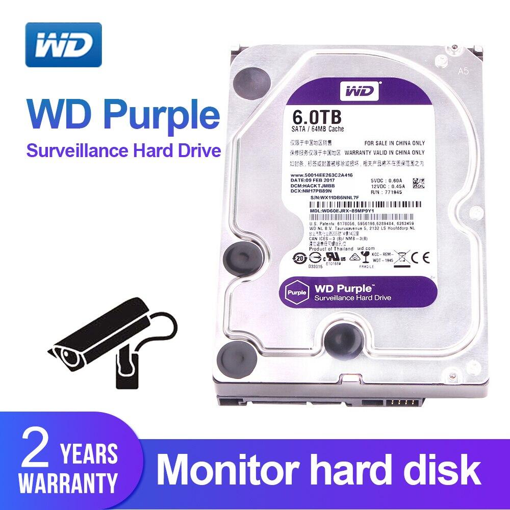WD Purple 6TB 3.5 Surveillance HDD Hard Disk Drive SATA 6.0Gb/s Interal HDD for cctv Camera AHD DVR IP Camera NVR WD60EJRX