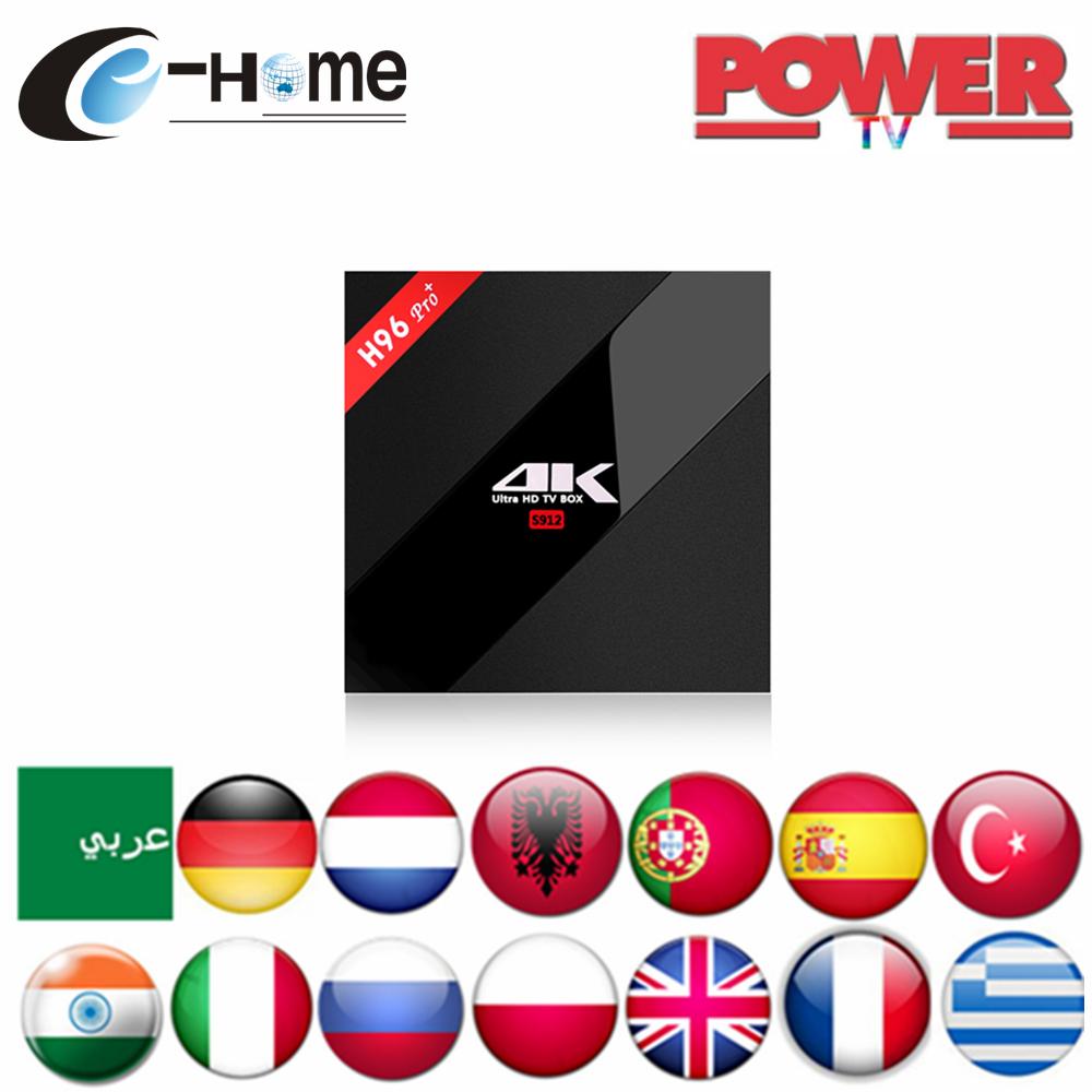 Prix pour H96 Pro + (3G + 32G) Puissance IPTV S912 Android 6.0 Arabe Espagne Français Allemagne Pays-Bas Portugal Italien Adulte xxx Europe IPTV Boîte